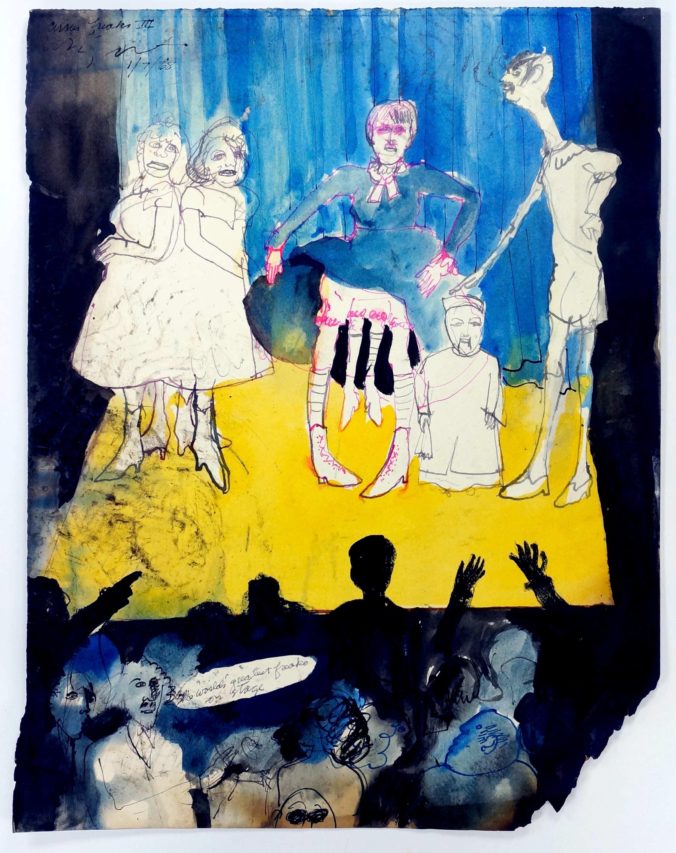 "Circus Freaks IIII, 1968 Ink on paper, framed 14.5 x 11.5"""