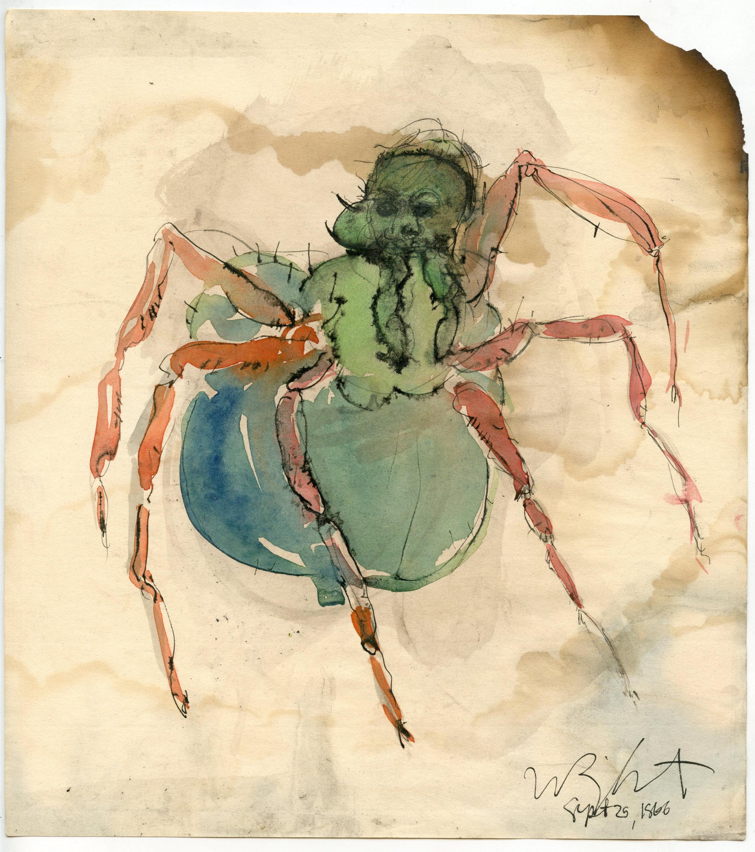 """Spider, 1966 Ink on paper, framed 9.25 x 8.5"""""""