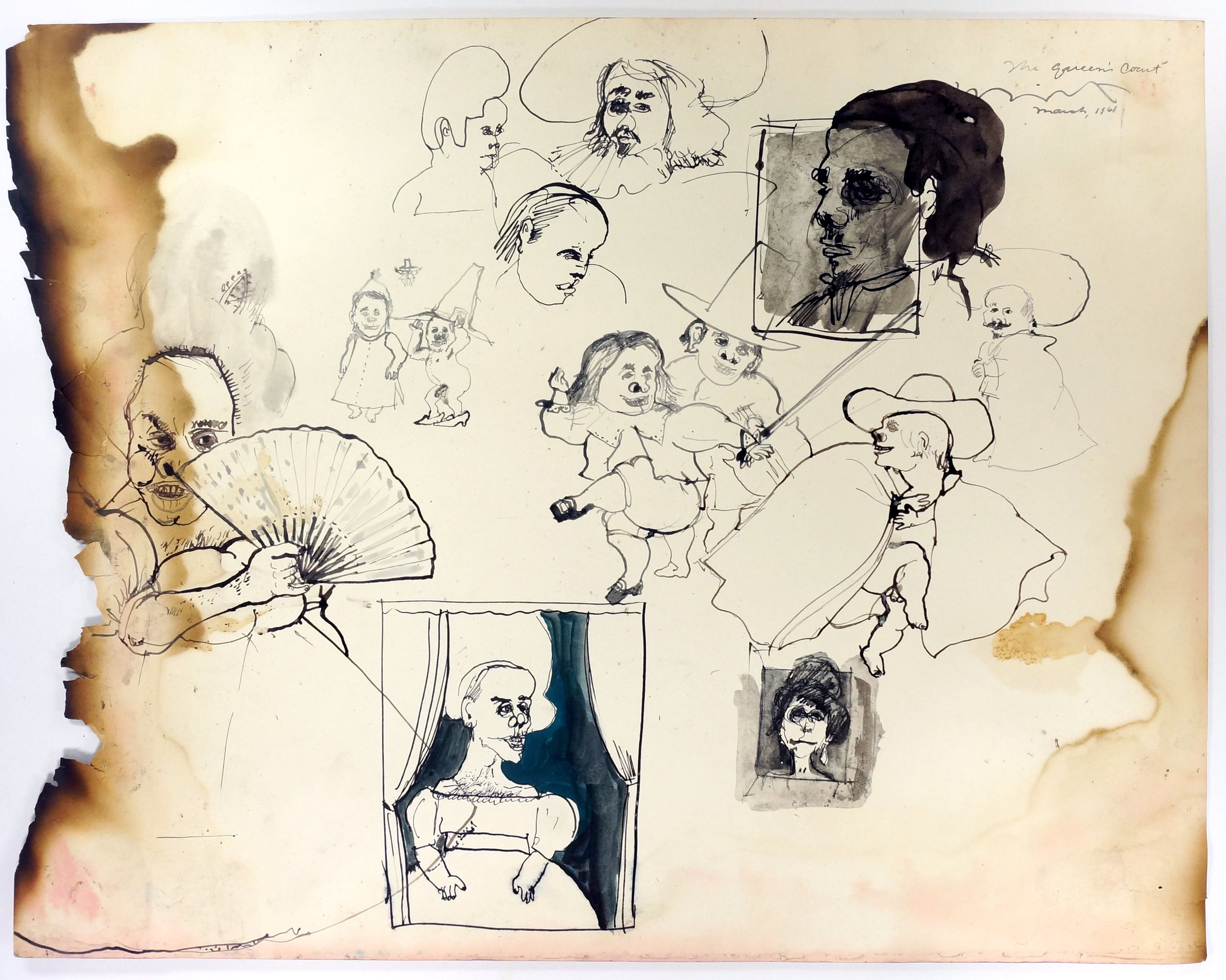 """The Queen's Court, 1968 Ink on paper, framed Approximately 18 x 24"""""""