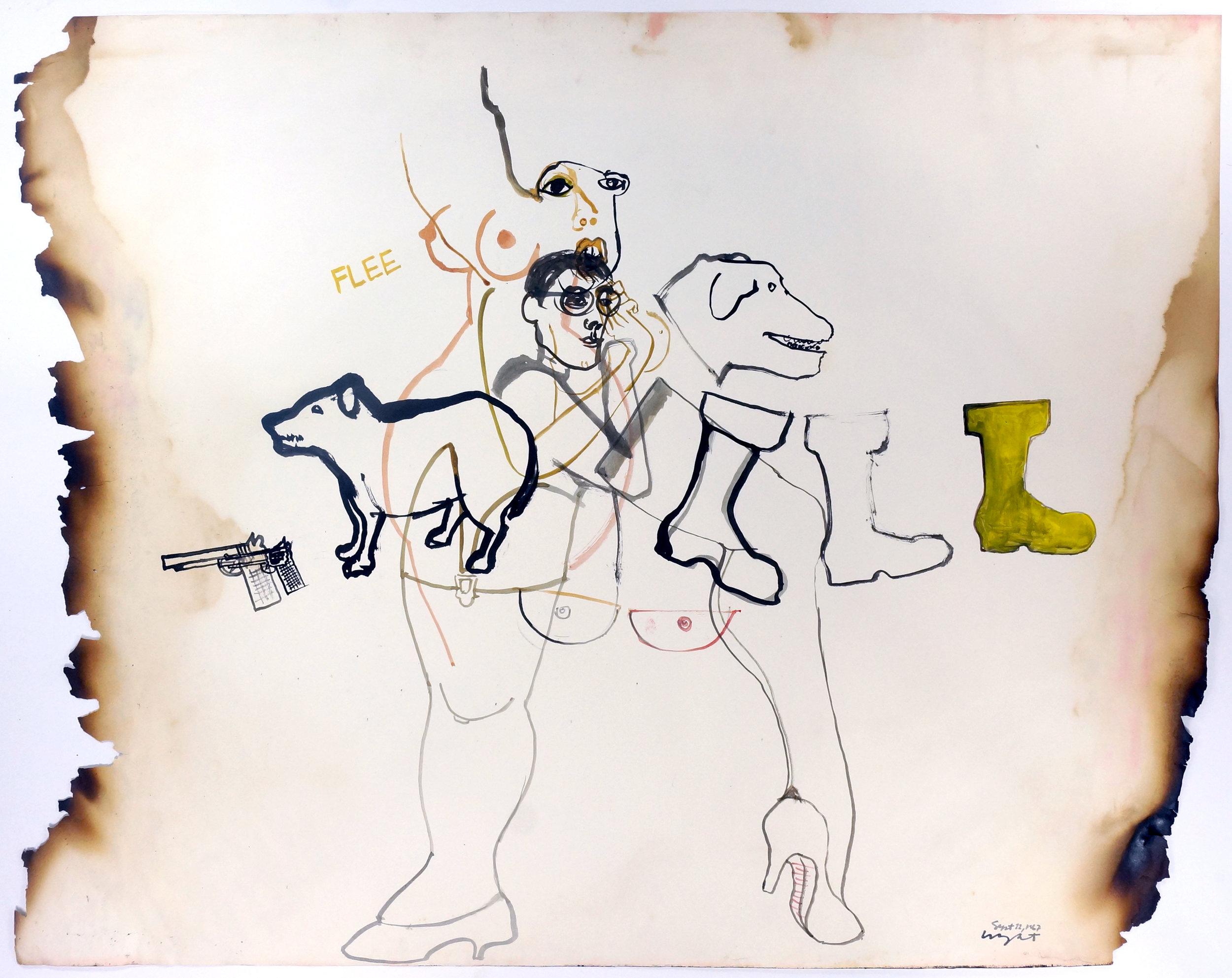 """FLEE, 1967 Ink on paper, framed 18.5 x 24"""""""