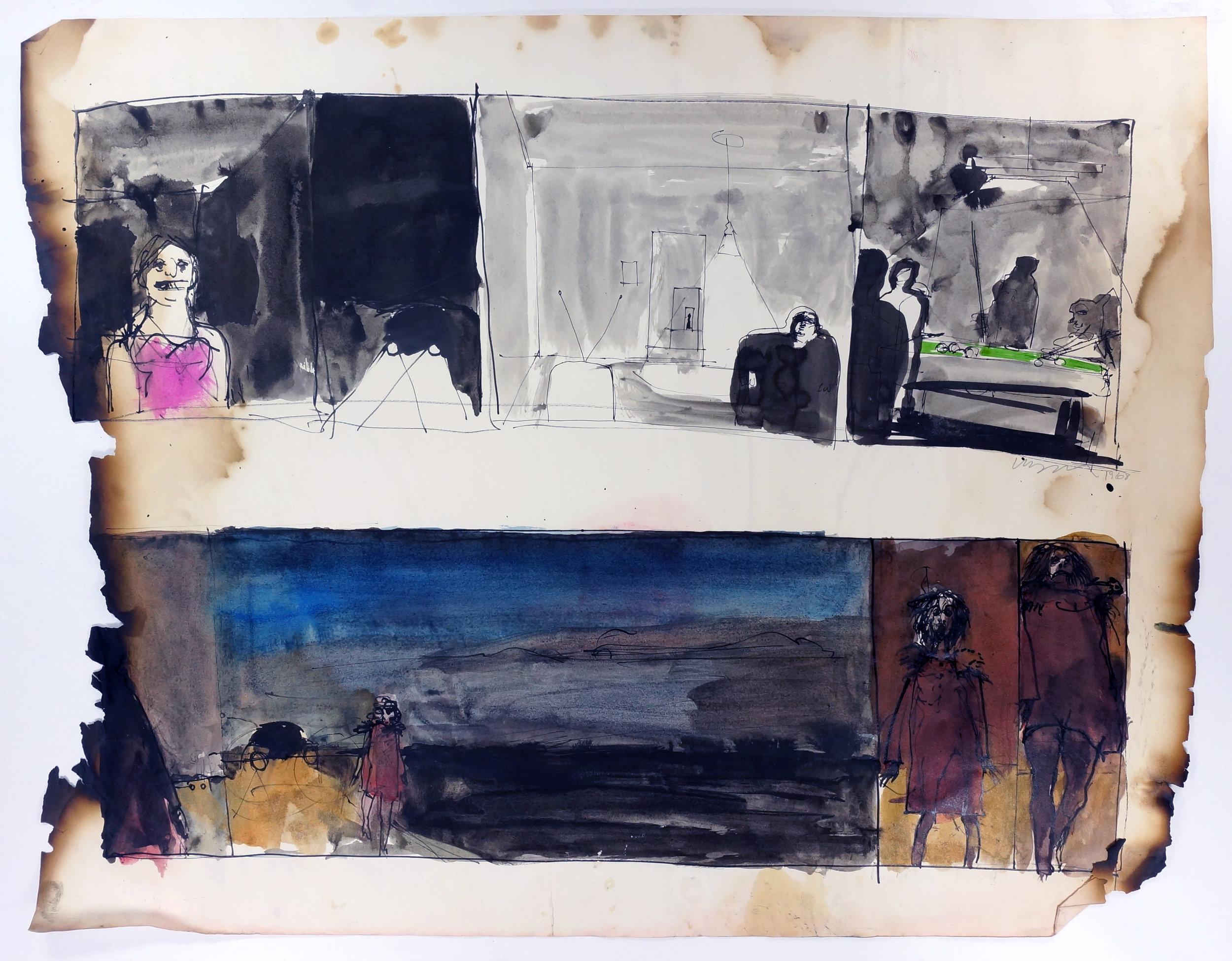 """Untitled, 1968 Ink on paper, framed 18.5 x 24"""""""