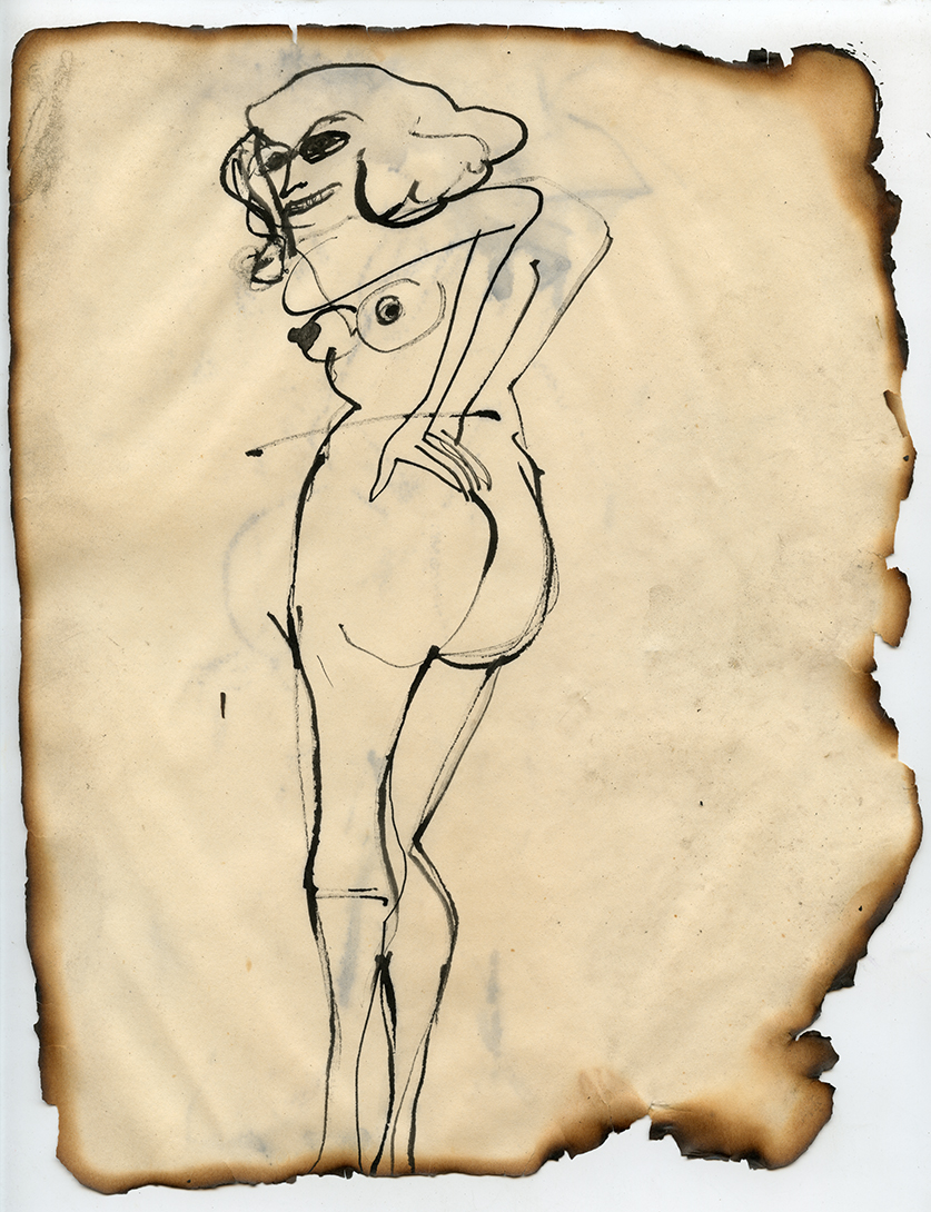 Figure No. 13,1969  Ink on paper, framed  Approximately 10.5 x 8.25""