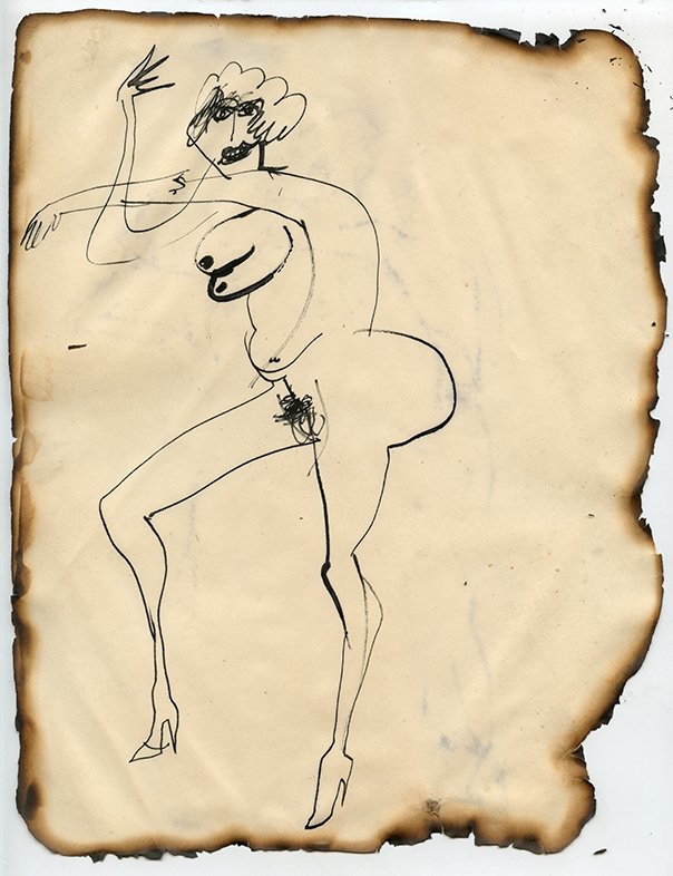 Figure No. 16, 1969 Ink on paper, framed Approximately 10.5 x 8.25""