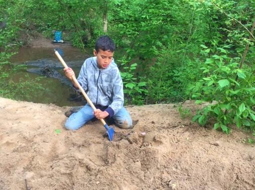 Archaeology dig on HomeSchool Beach april2019.jpg