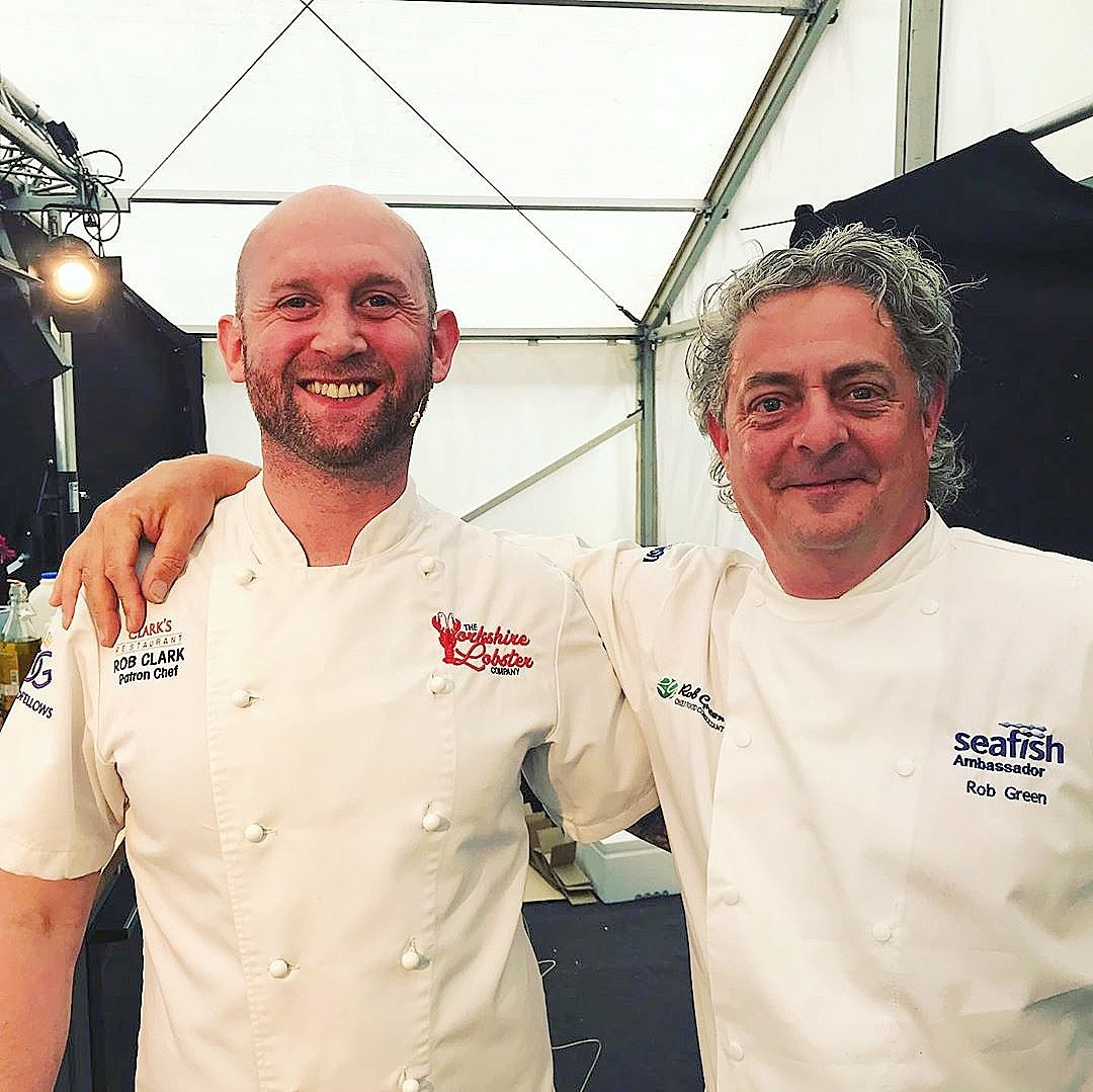 Rob Clark & Seafood Ambassador Rob Green Bridlington Seafood Festival July 2019