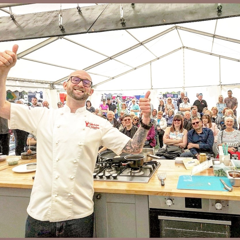 Rob preparing for Scarborough Open Air Theatre Food and Drink Festival July 2019