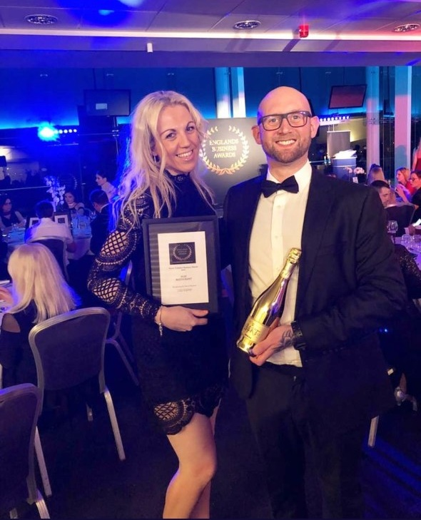 Rebecca Cross & Rob receiving the award for Best Restaurant North Yorkshire Englands Business Awards March 2019