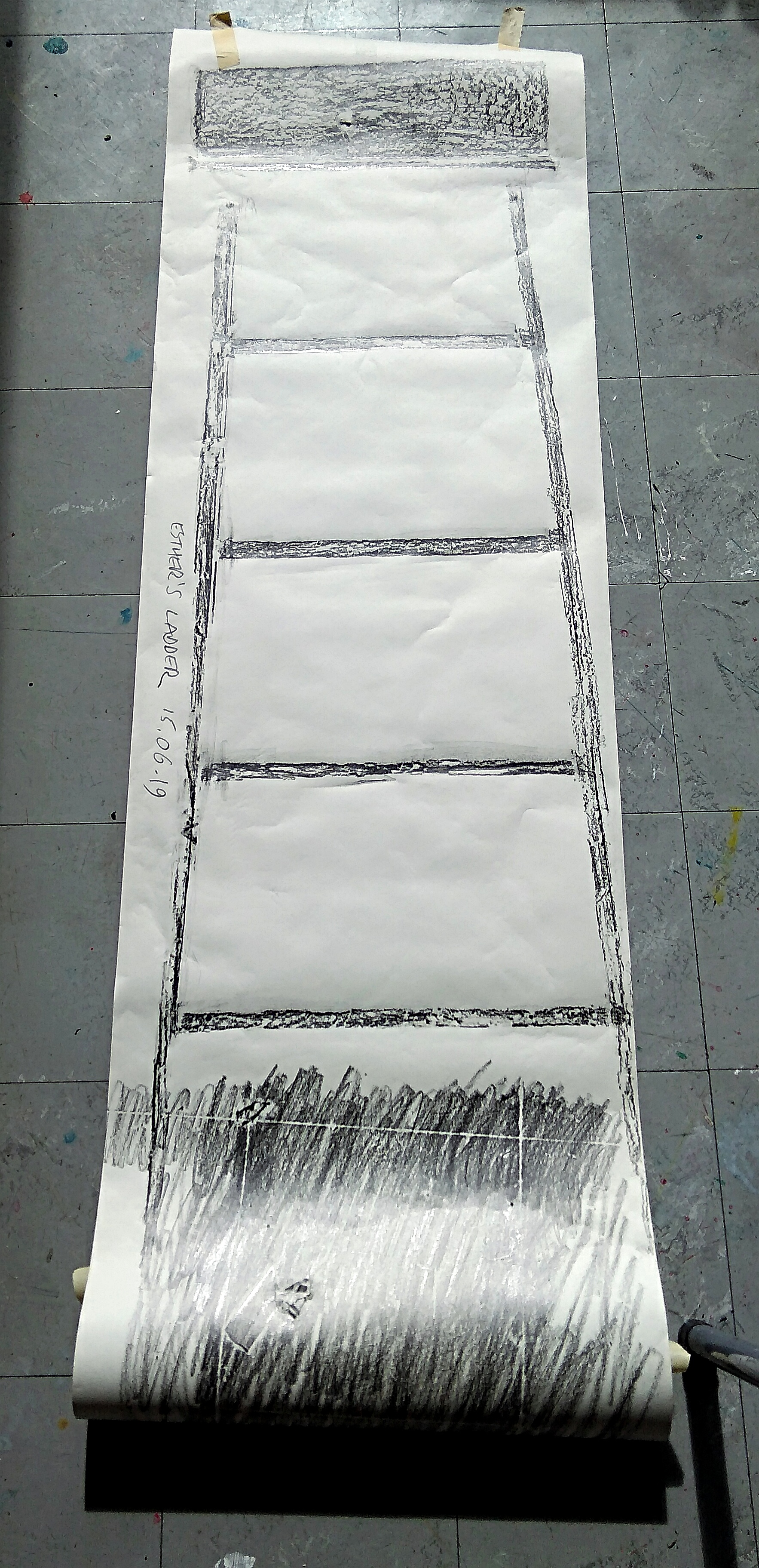 Frottage of Esthers Ladder by Chris Lewis Jones, Artist based at Primary Nottingham.