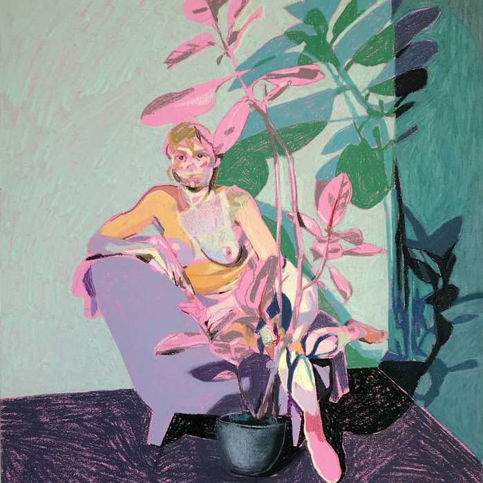 Nude on Pink with Rubber Plant   Hester Finch