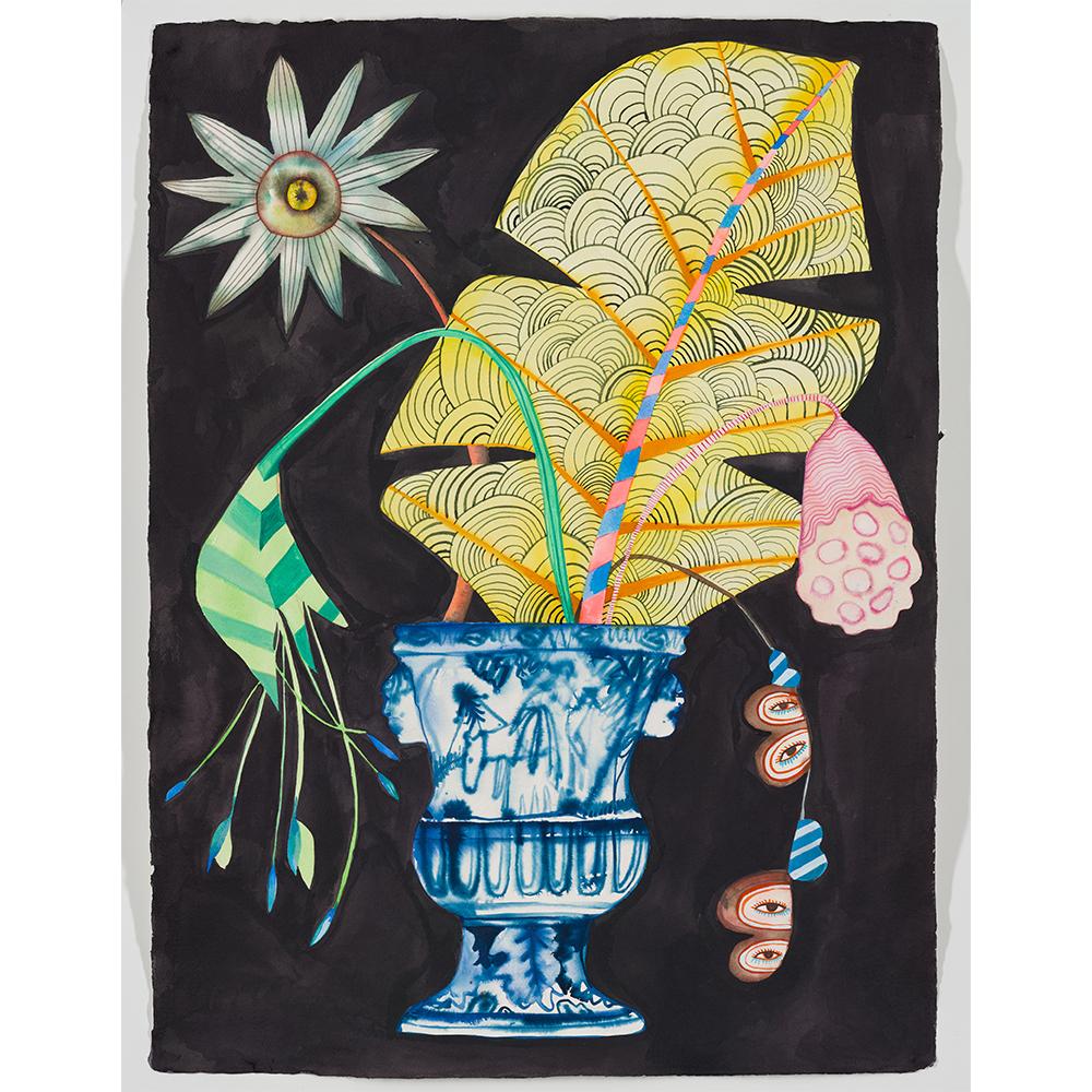 Blue Urn Katagami leaf, Isabelle Hayman, Ink on Indian Khadi Paper, 56x76cm, £1250, Partnership Editions.jpg