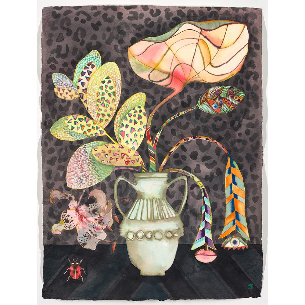 Antique vase with ladybird, Isabelle Hayman, Ink on Indian Khadi Paper, 56 x 76 cm, £1250 Partnership Editions.jpg
