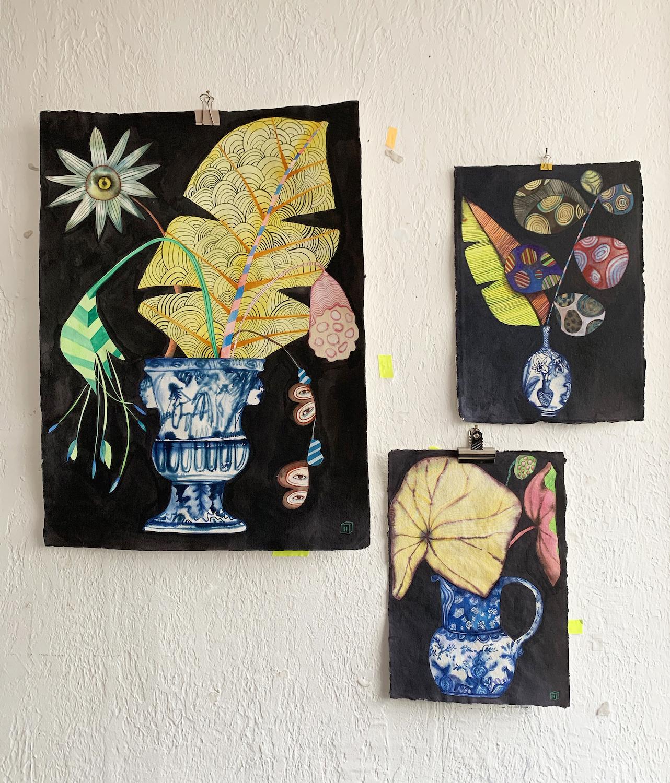 Botanicals 3 drawings on wall2.jpg