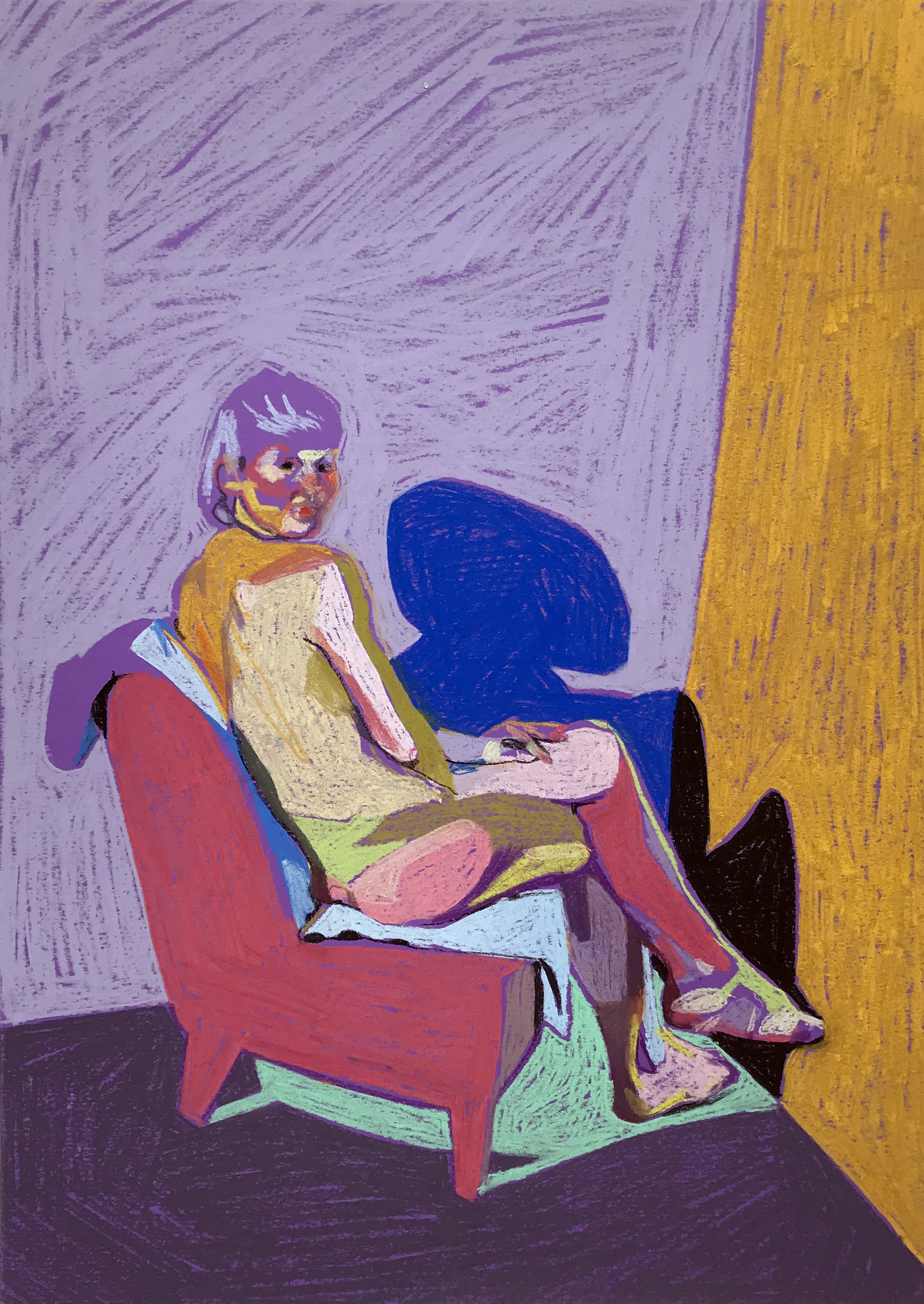 Nude on purple with yellow wall, Hester Finch, Pastel on Paper (A3), £450, Partnership Editions.jpg