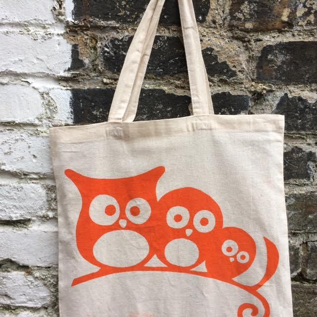 Screen printing bag with owls.jpeg