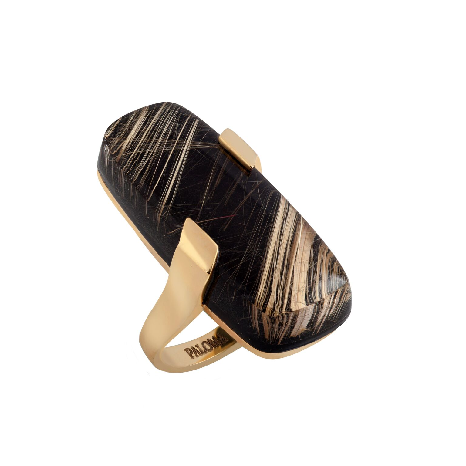 Rutilated quartz, backed with black jade, set in 18k yellow gold ring