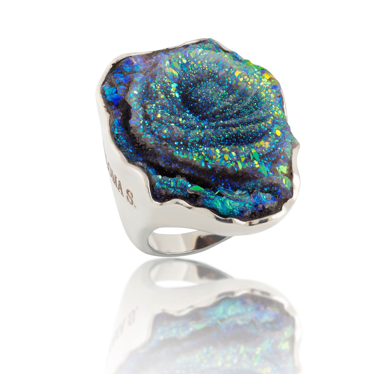 Druzy quartz infused with titanium, set in 18K white gold-plated silver ring