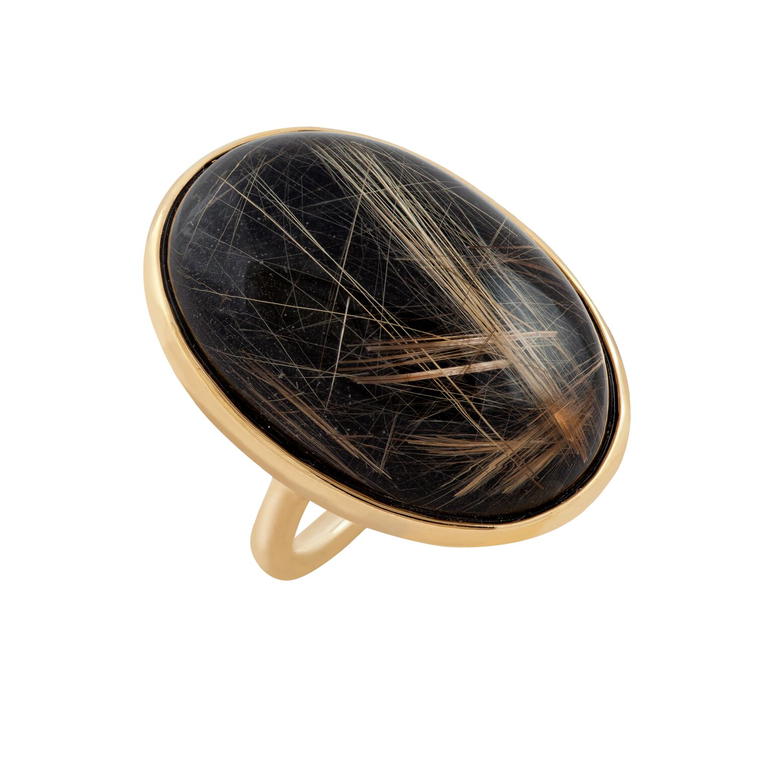 Rutilated quartz cabuchon, backed with black jade, set in 18k yellow gold ring