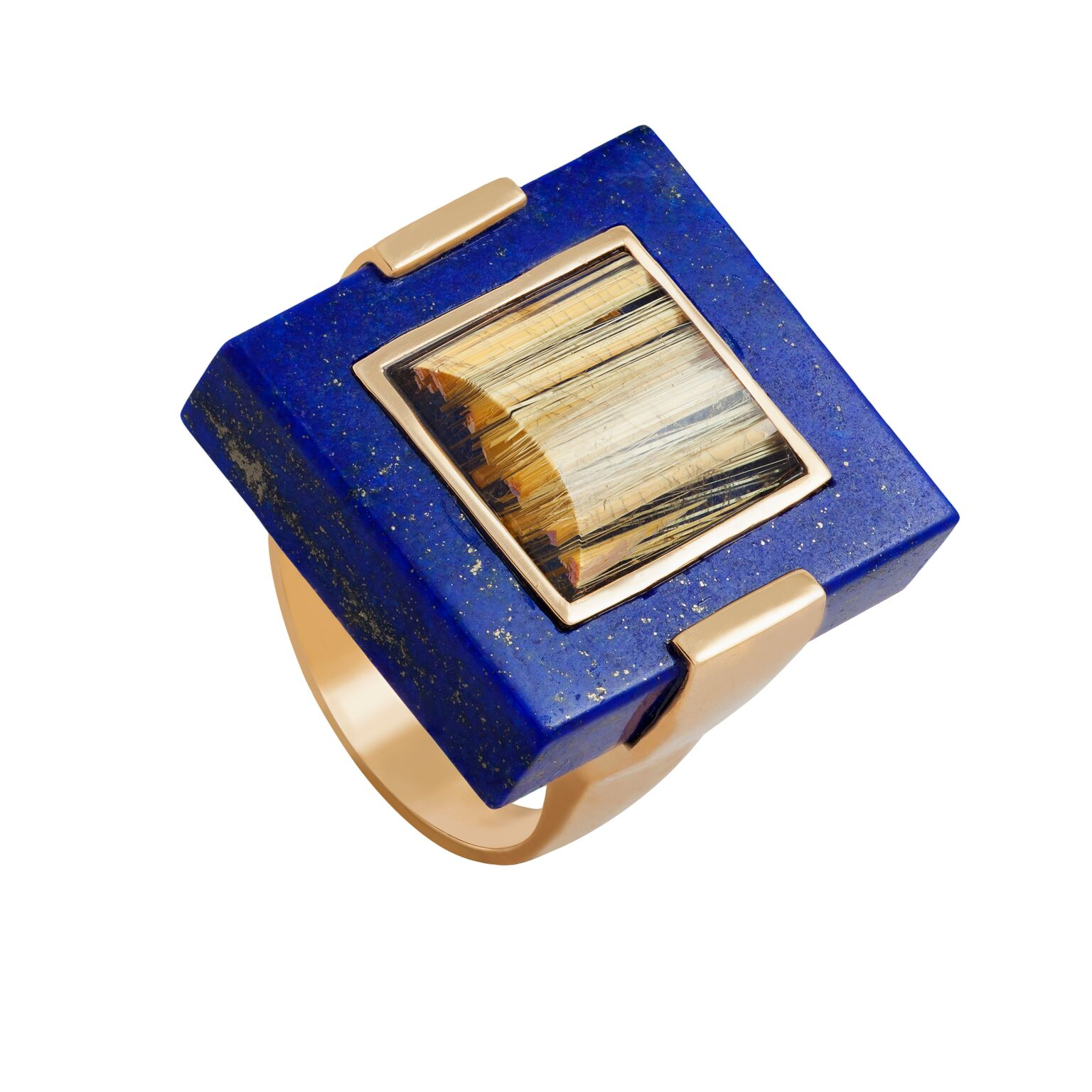Rutilated quartz and lapis lazuli (Afghanistan) with 18K yellow gold bevel, set in 18k yellow gold ring