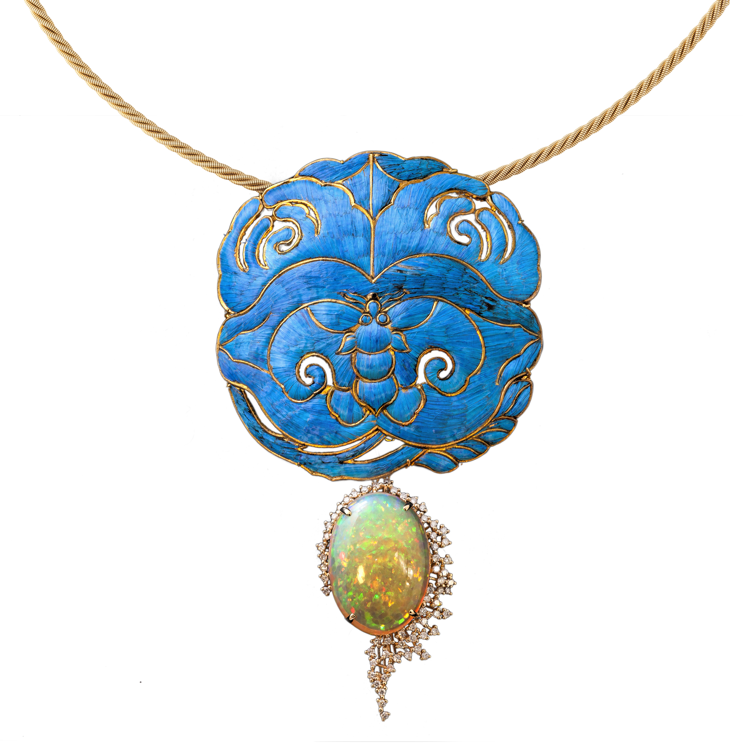 Kingfisher Feather Art Opal Necklace