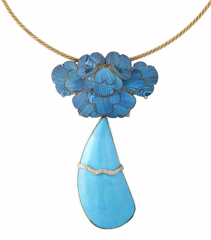 Kingfisher Feather Art Sleeping Beauty Turquoise Necklace