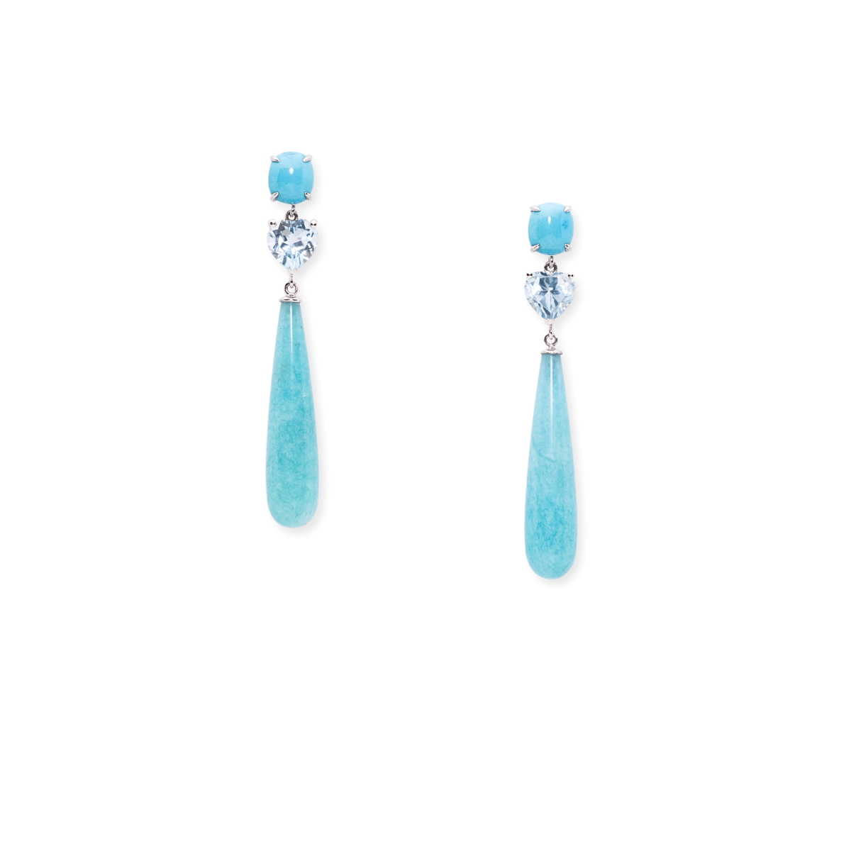 Sleeping Beauty turquoise fo¡rom Arizona, USA, heart shape aquamarines from Madagascar and long tear drop amazonites from Brazil se in 18kts white gold earrings (1).JPG