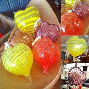 Handmade Blown Glass Love Hearts by Anona Wyi