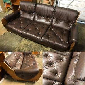 Retro Teak and Vinyl 3 seater sofa