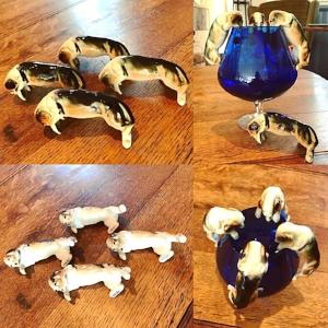 1960s Brandy Glass with ceramic Dogs