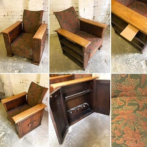 1920s Deco Utilitarian Armchair with cupboards