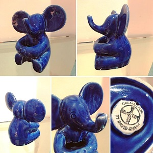 1970s Blue Elephant Pen Holder
