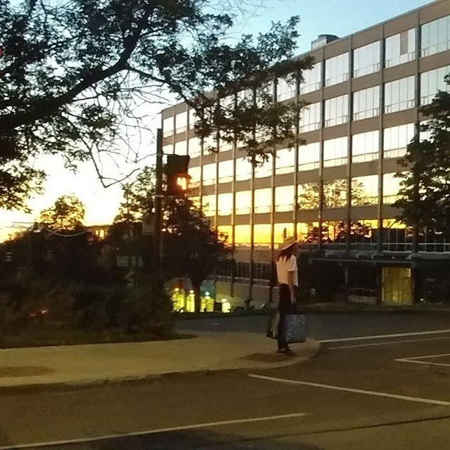 Waiting to cross.  #montreal #sunset #citylife