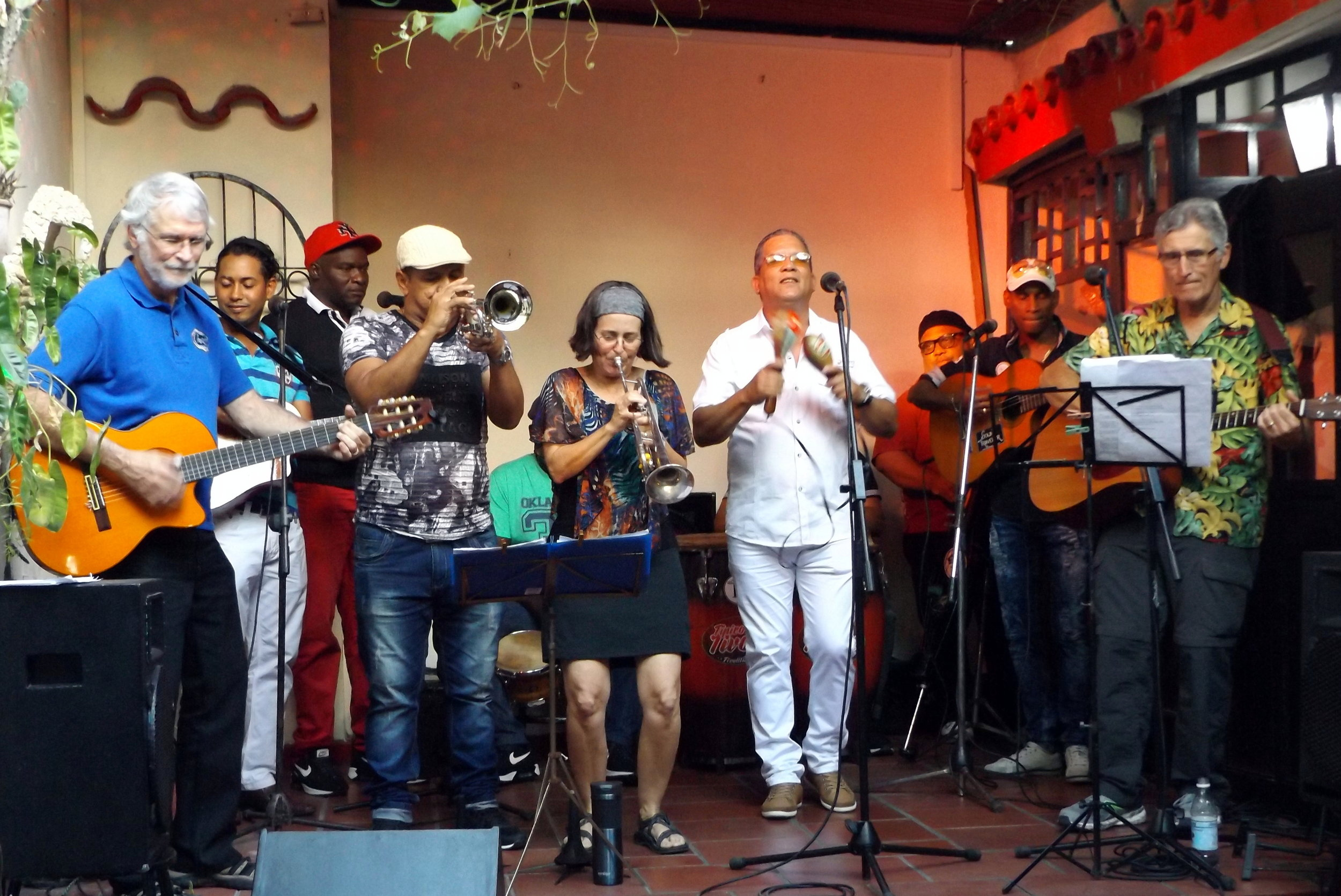 Performance in Santiago de Cuba at Patio de Los Dos Abuelos with Septeto Tipico Tivoli band, March 2018!