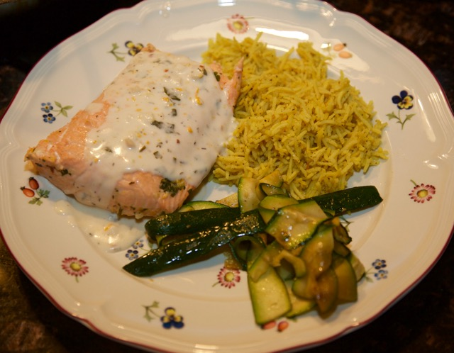 Steamed salmon with coconut orange sauce