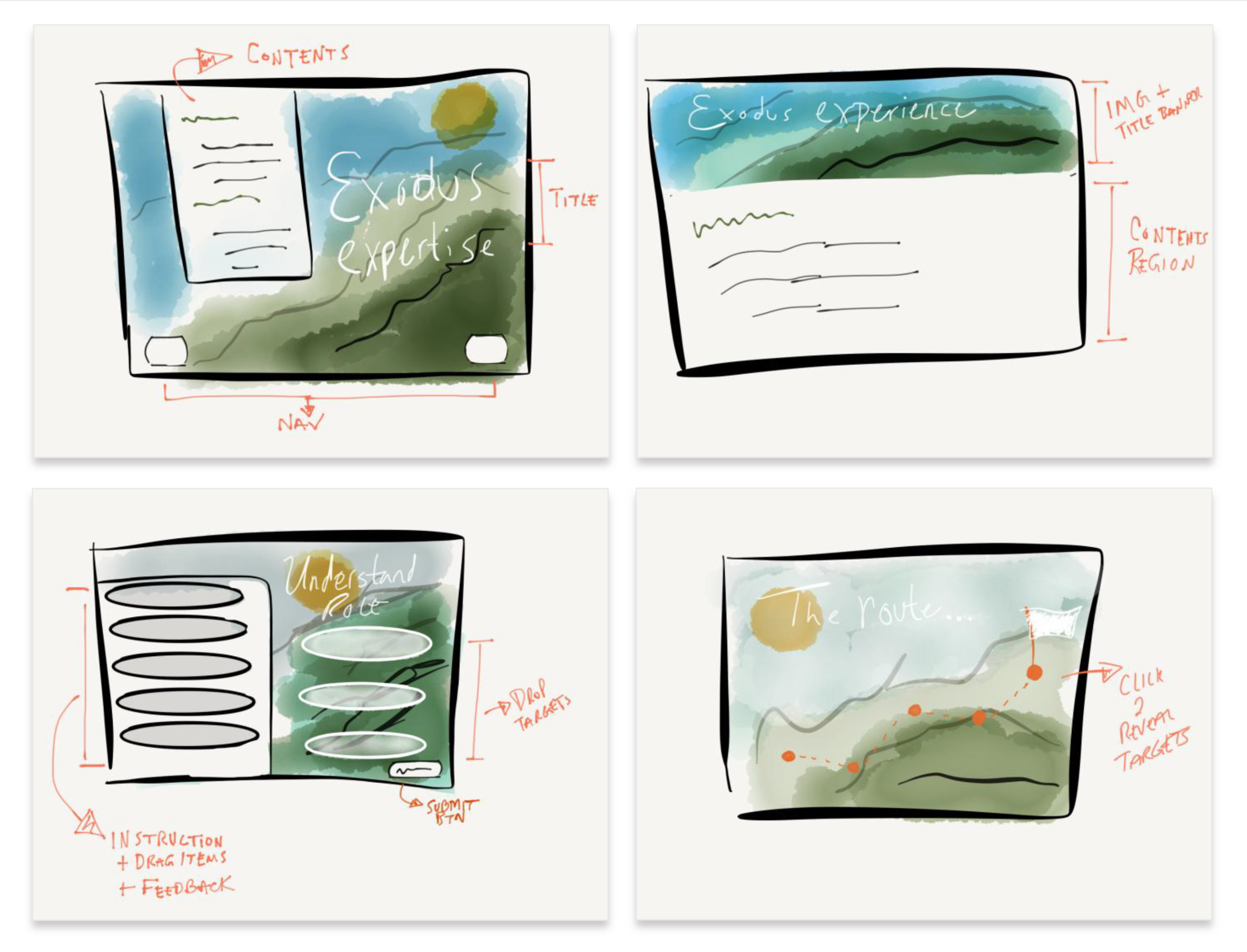 Initial sketch concepts for interpreting content and presenting to the client (created with app Paper).