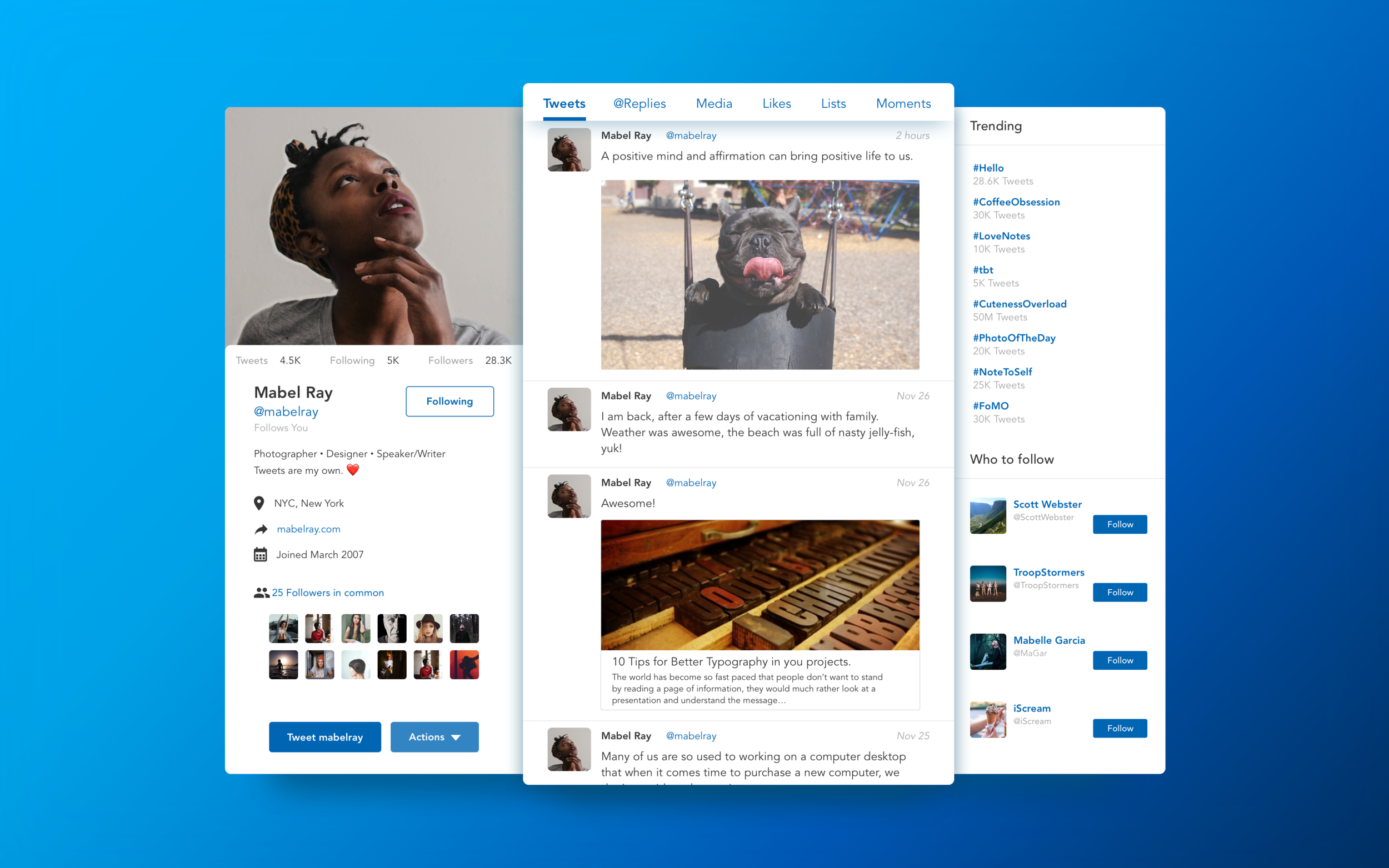 Daily UI #006—Social Profile (2nd creation)