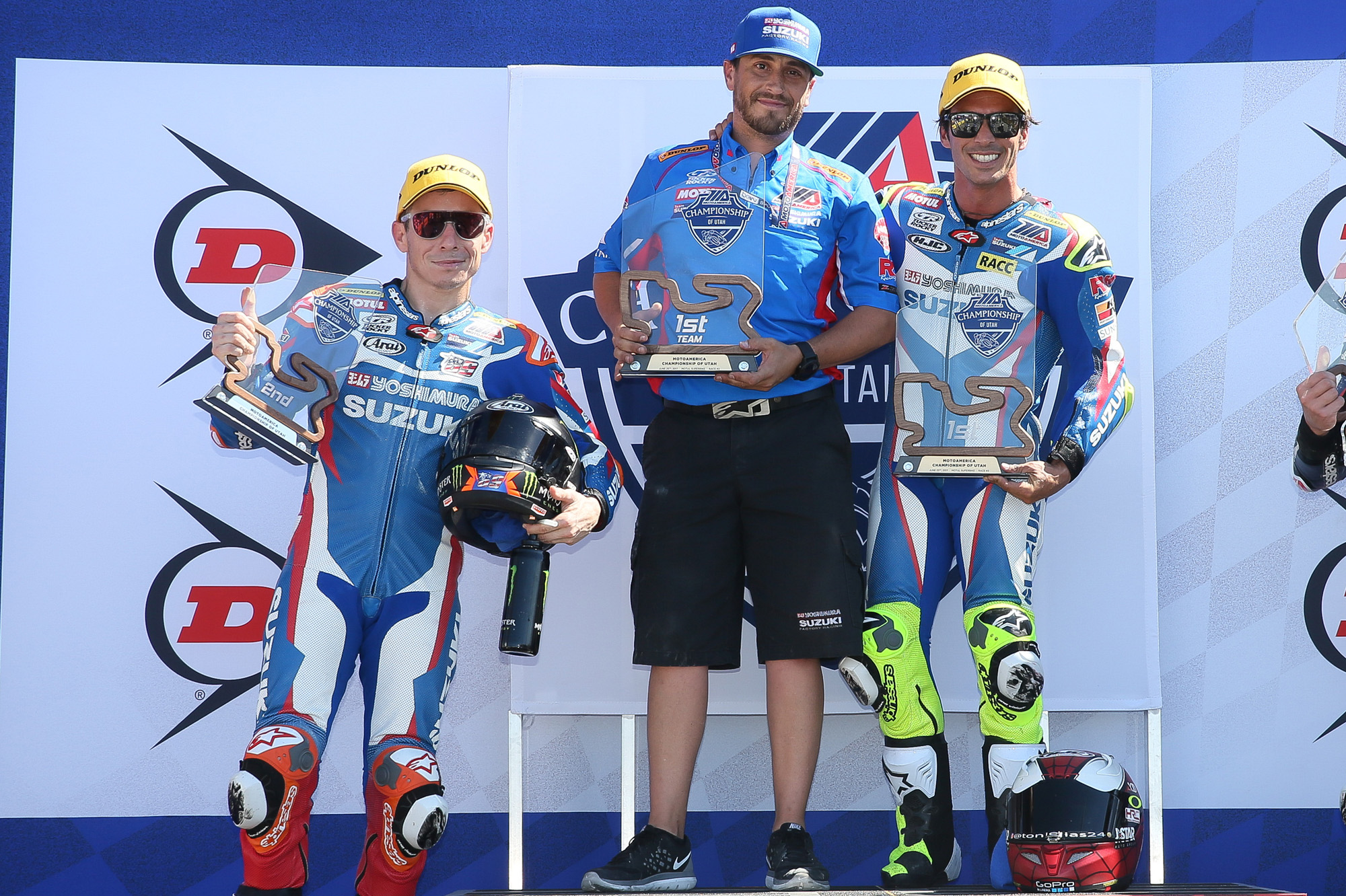 Yoshimura Suzuki Factory Racing's Roger Hayden, mechanic Jon Heinen and Toni Elias celebrate a clean sweep of both MotoAmerica Superbike races in Utah and a new track record in Superpole on the 2017 Suzuki GSX-R1000. (Photo by Brian J. Nelson)