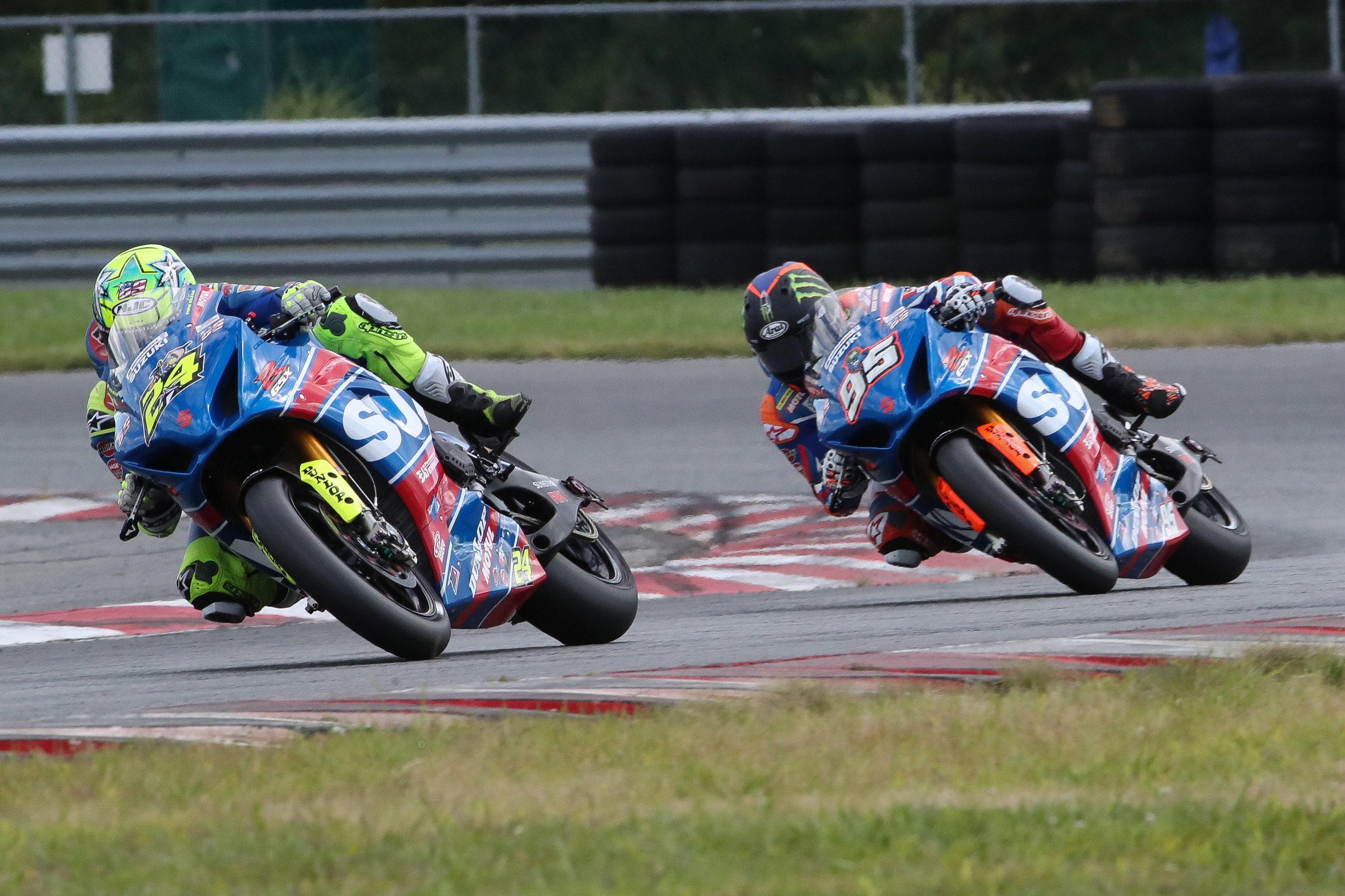 Sunday's MotoAmerica Superbike Race 2 came down to a last-lap pass made by Toni Elias on Yoshimura Suzuki teammate Roger Hayden, who led all but the final lap. Elias' victory was his 10th of the season. (Photo by Brian J. Nelson)