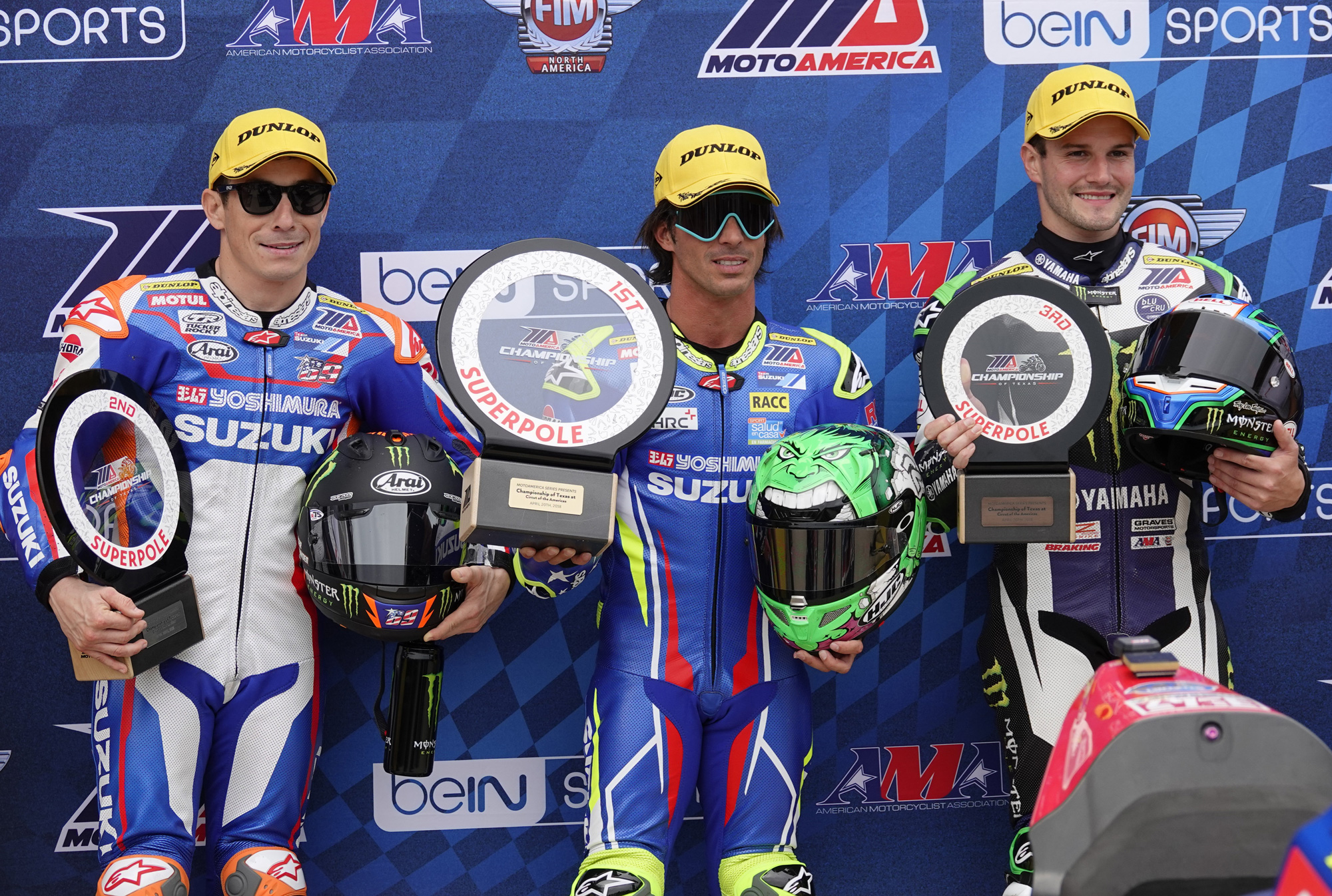 Toni Elias (center) and Yoshimura Suzuki teammate Roger Hayden (left) qualified 1st and 2nd in MotoAmerica Superpole at COTA on Friday. It marked the third-career MotoAmerica Superpole for Elias.