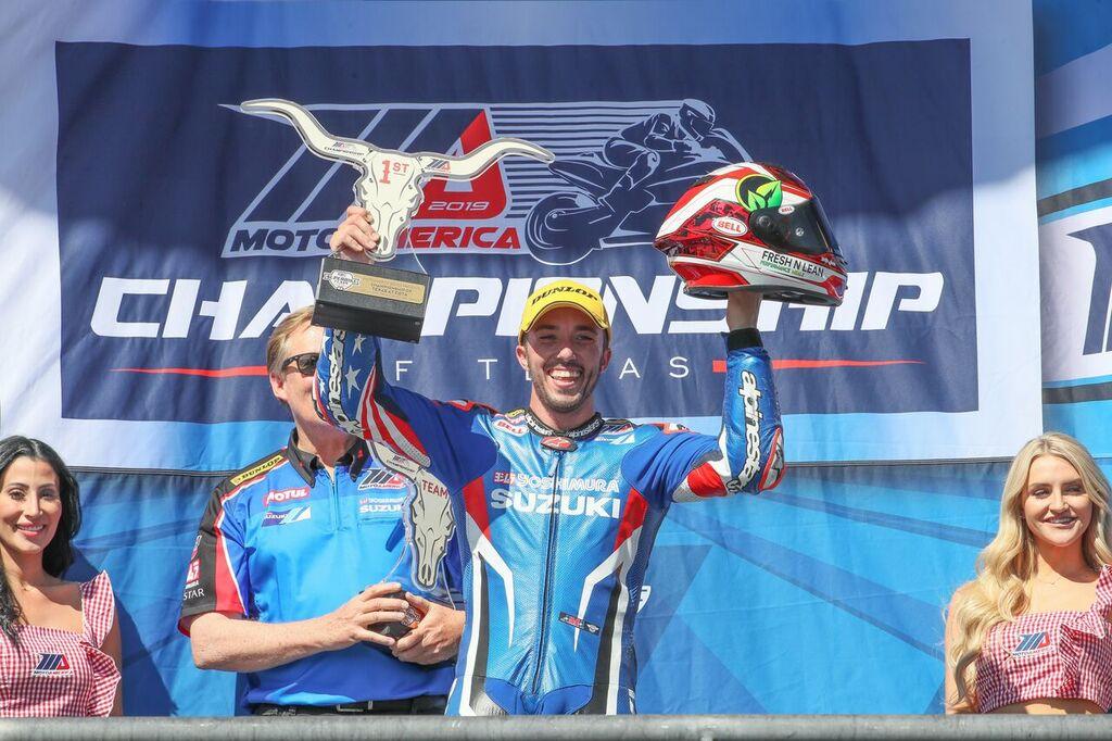 Josh Herrin scored his first MotoAmerica Superbike victory of 2019 on his Yoshimura Suzuki GSX-R1000. Here he celebrates his Sunday victory. Toni Elias was second, giving Yoshimura Suzuki a 1-2 finish. (Brian J. Nelson photo)