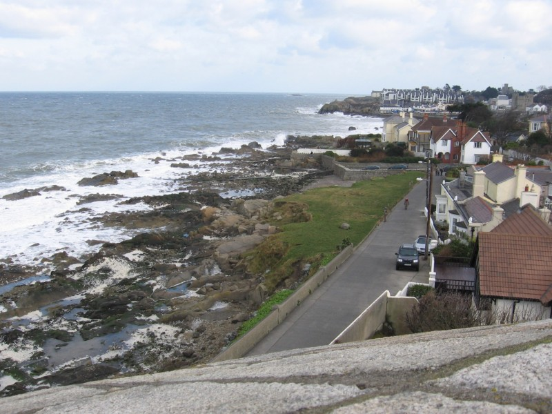 """The """"snotgreen sea"""" as seen from atop Martello Tower."""