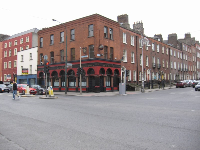 The corner of Eccles and Dorset Streets, where Larry O'Rourke's pub would have been.