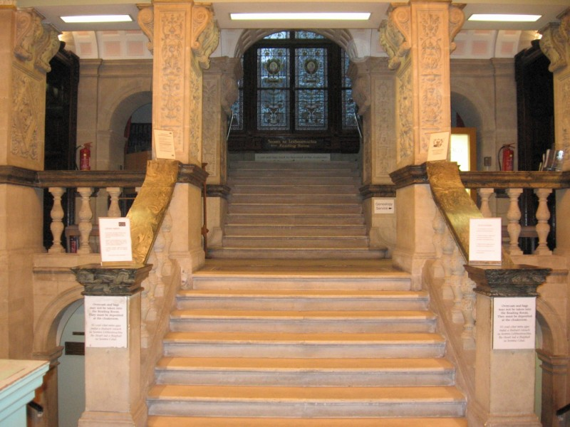 The steps leading out of the National Library.
