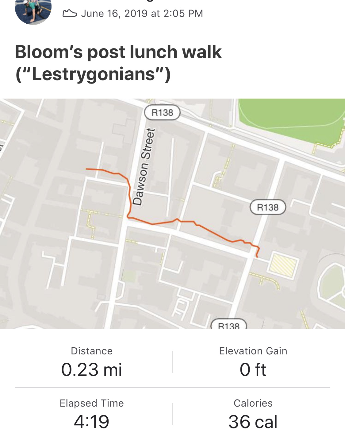 A recreation of Bloom's walk from Davy Byrne's to the National Museum.