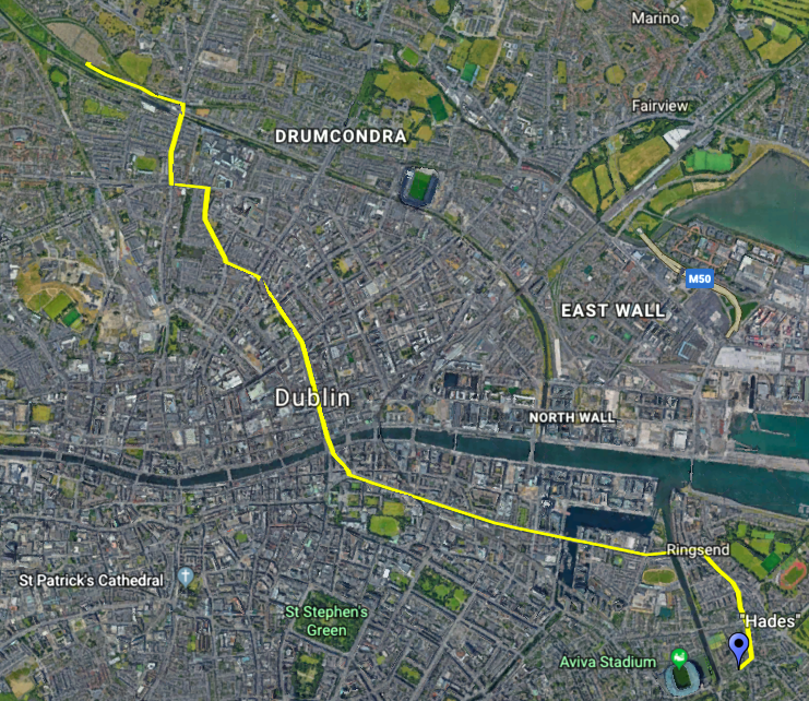 In yellow, the path of the funeral procession, beginning at the Dignam home in the Southeast and ending at Glasnevin Cemetery in the Northwest. (click to enlarge)