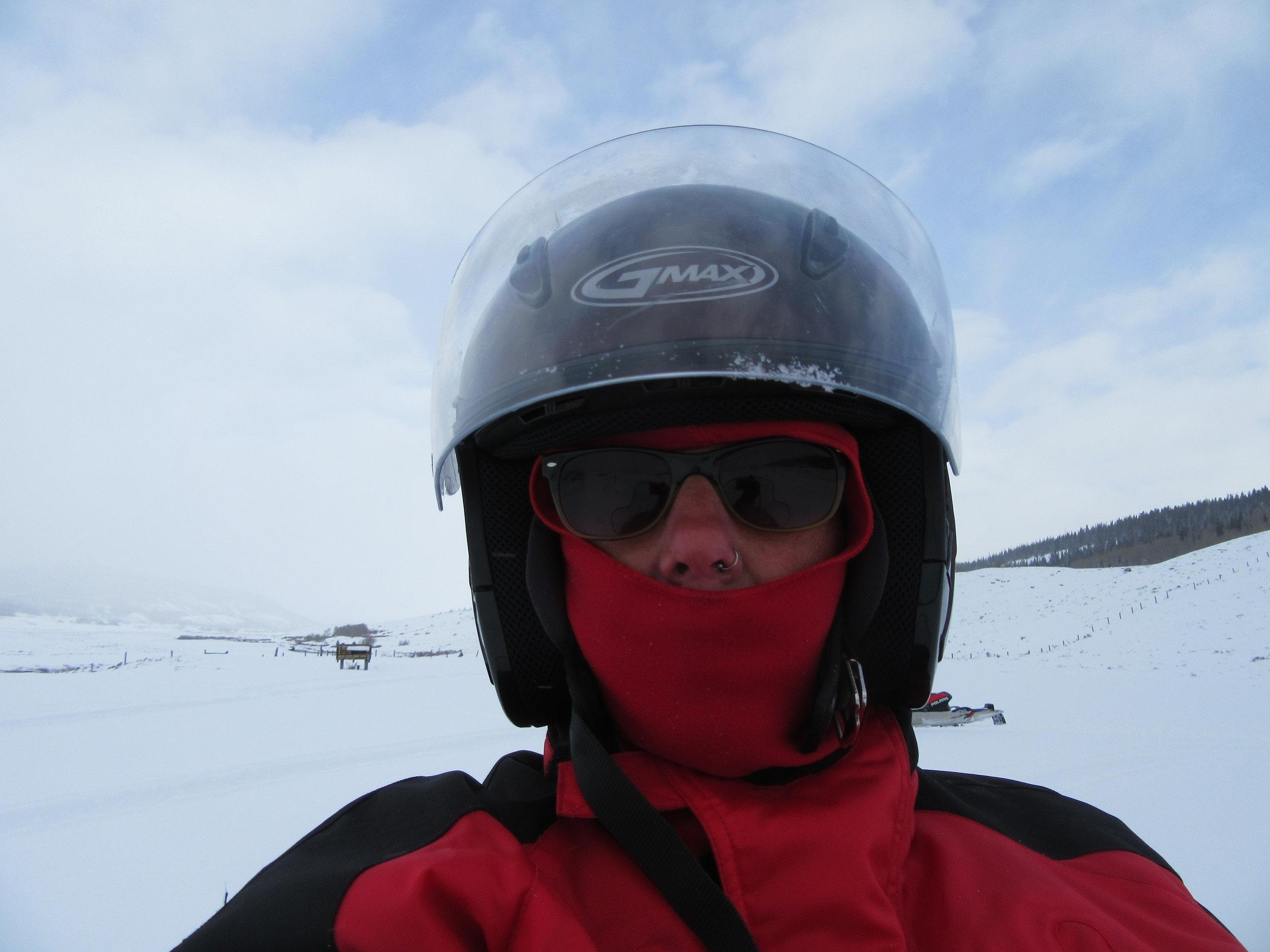 Jane in her snow machine gear.