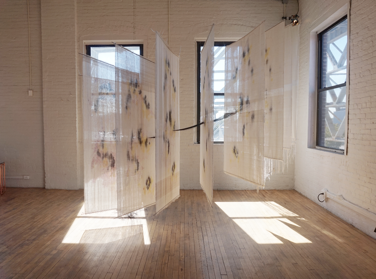 Axis  Natural fibers, synthetic fibers, dye 11' x 12' x 6' Image courtesy of the  artist's website.