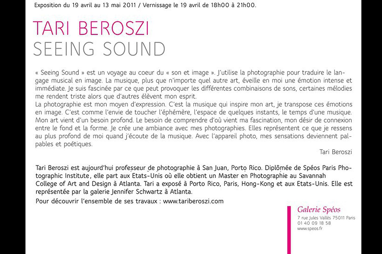 Seeing Sound | Solo Show. Galerie Spéos, Paris, France, 2011