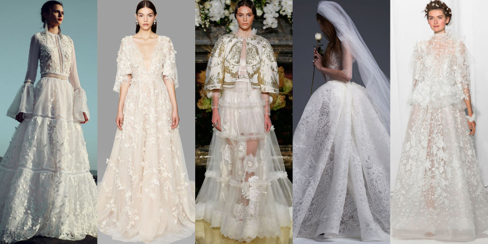 From left: Costarellos, Marchesa, Yolan Cris, Vera Wang Bride and Reem Acra Fall 2017 Bridal.