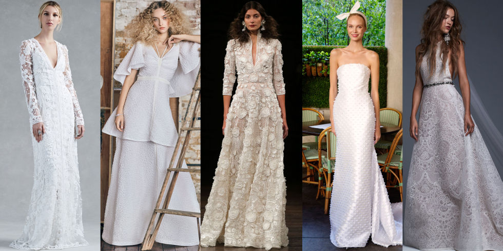 From left: Oscar de la Renta, Moda Operandi x Rosie Assoulin, Naeem Khan, Lela Rose and Vera Wang Bride Fall 2017 Bridal.