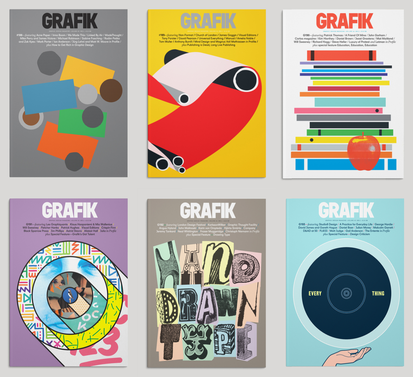A selection of issues of Grafik magazine to which I contributed between 2011-12.